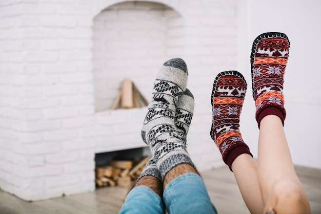 Human legs in socks