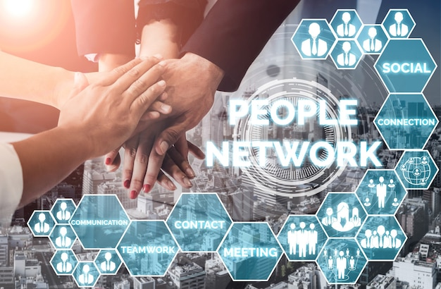 인적 자원 모집 및 사람 네트워킹 개념.