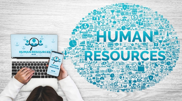 Human resources recruitment and people networking concept.