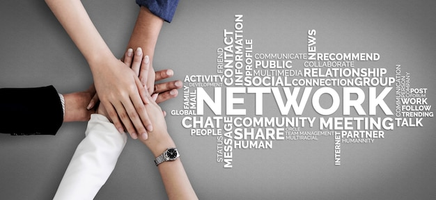 Human resources recruitment and people networking concept