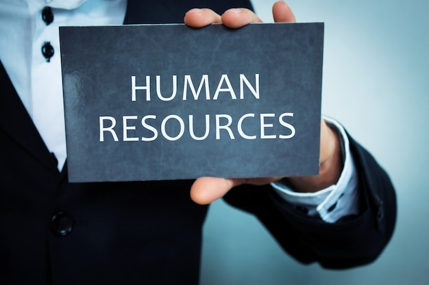 Human resources text on notepad