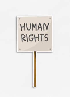 Human rights placard icon on isolated