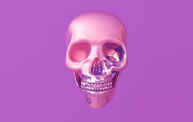 인간의 스컬 3d 렌더링입니다. 보라색 배경에 광택 있는 죽음의 머리