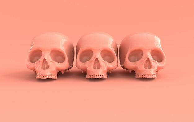 인간의 스컬 3d 렌더링 무서운 할로윈 죽은 해골 머리 기호