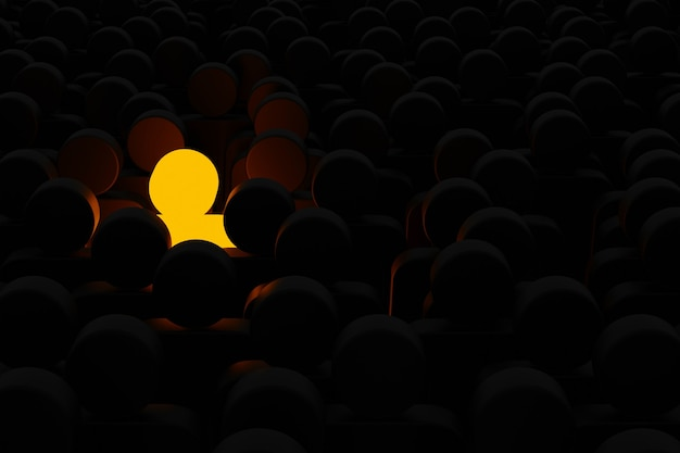 Человеческий знак, выдающийся среди группы. лидер, уникальный, думай иначе, индивидуальный и выделяющийся из толпы. 3d иллюстрация