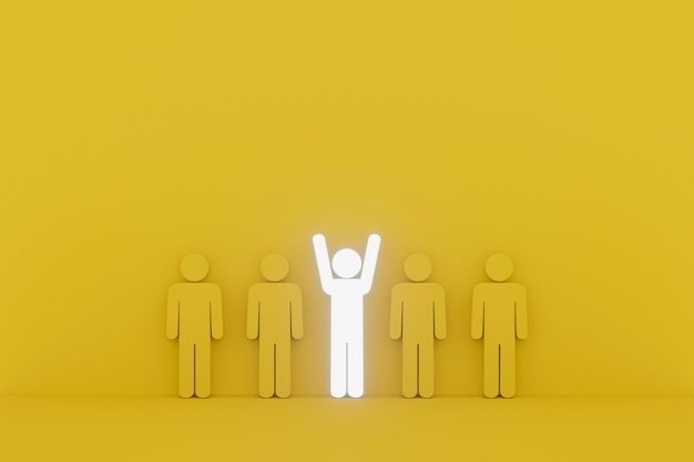 Human sign outstanding among group. leader, unique, think different, individual and standing out from the crowd concept. 3d illustration
