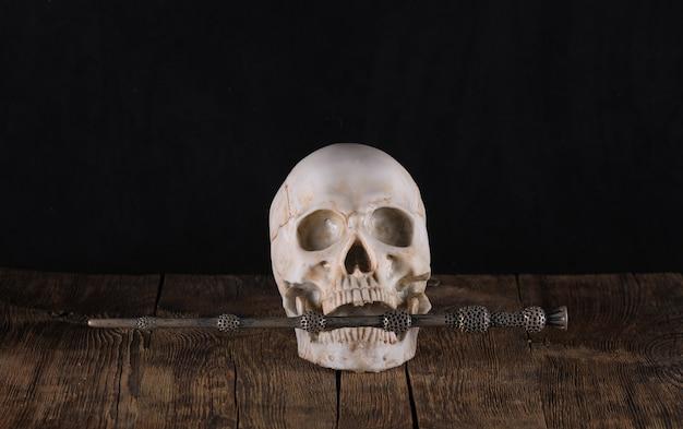 검은 배경에 인간의 두개골과 마술 지팡이