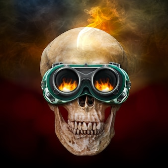 Human skull have on the industrial safety glasses
