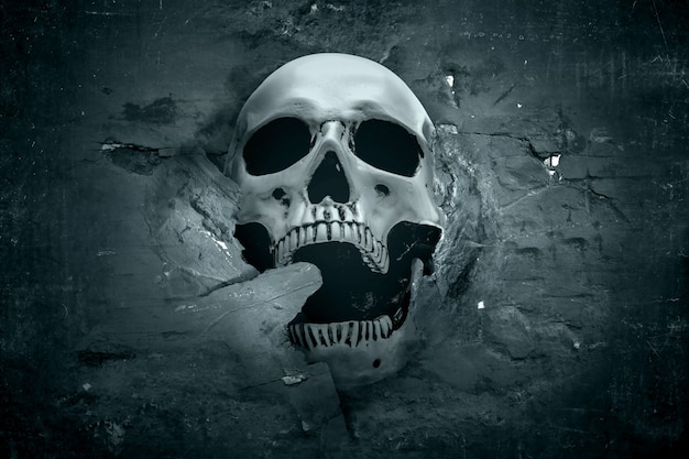 Human skull showing from a cracked wall