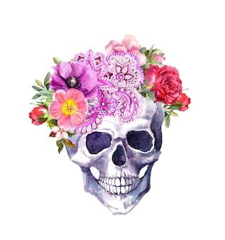 花と自由奔放に生きるスタイルの民族装飾が施された人間の頭蓋骨。水彩