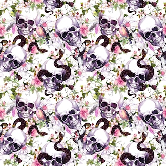 Human skulls with flowers, bird, snake. seamless pattern on black background. watercolor