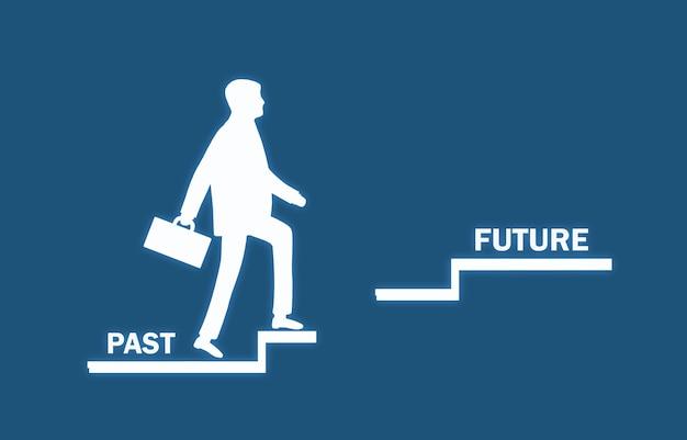 Human symbol climb past to future stairs.