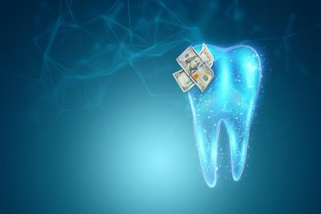 Голограмма человеческого зуба с луковицами на кариесе, синем фоне. концепция дорогих