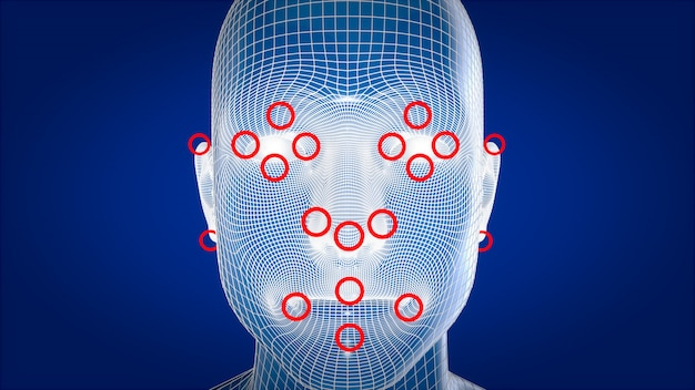 Human xray, human anatomy facial recognition, 3d illustration