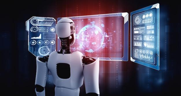 빅 데이터의 개념을 보여주는 홀로그램 화면을보고있는 휴머노이드 ai 로봇