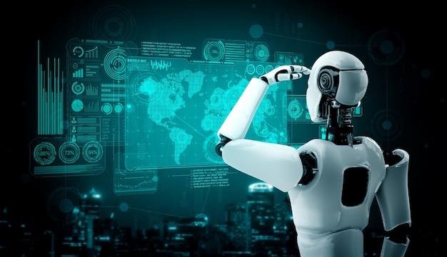 Гуманоидный робот ии смотрит на экран голограммы, демонстрирующий концепцию больших данных
