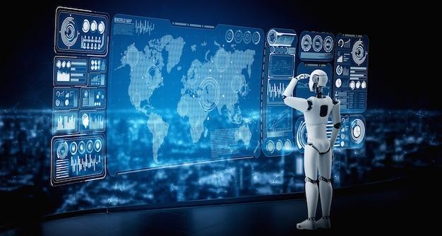 Робот-гуманоид с искусственным интеллектом смотрит на экран голограммы, демонстрирующий концепцию больших данных