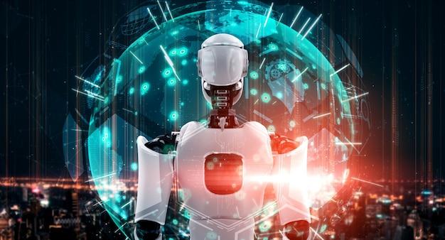 Гуманоидный робот ии смотрит на экран голограммы, демонстрирующий концепцию коммуникации