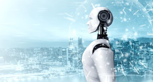 통신의 개념을 보여주는 홀로그램 화면을보고 휴머노이드 ai 로봇