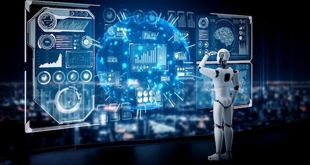 Гуманоидный робот ии смотрит на экран голограммы
