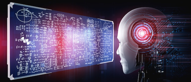Humanoid ai robot looking at hologram screen in concept of math calculation
