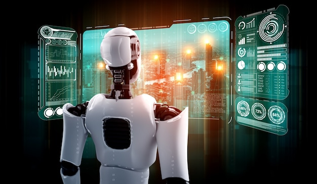 Humanoid ai robot looking at hologram screen showing concept of big data