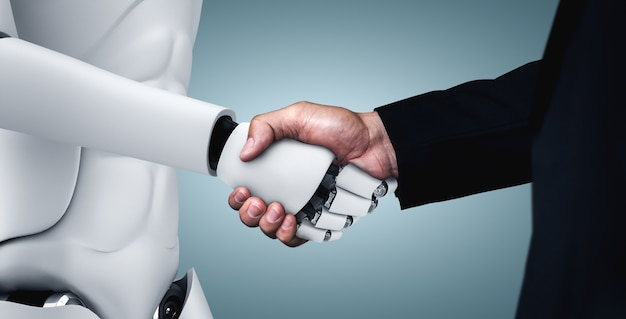 Humanoid robot handshake to collaborate future technology development by ai thinking brain