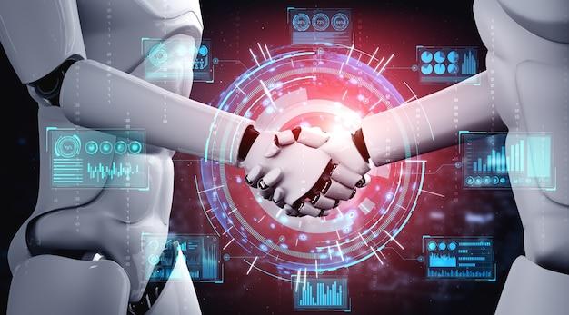 Рукопожатие роботов-гуманоидов для совместной разработки технологий будущего с помощью искусственного интеллекта