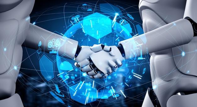 Humanoid robots shaking hands