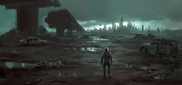 Humans return to the destroyed earth illustration.
