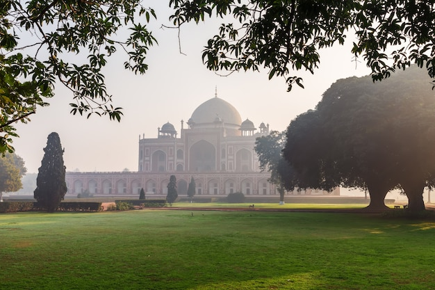 Humayun's tomb in the morning mist, new delhi, india.