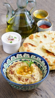 Hummus and wheat flatbread