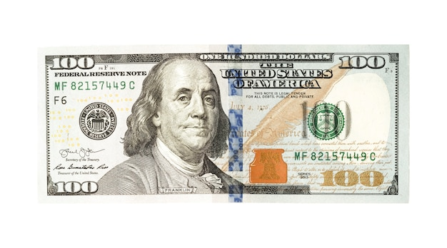 Hundred us dollar banknote on white.