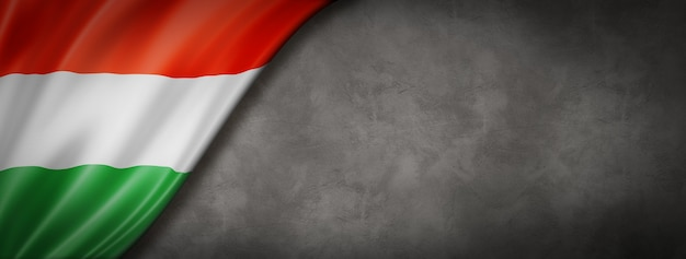 コンクリートの壁のバナーにハンガリーの旗