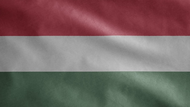 Hungarian flag waving in the wind. close up of hungary banner blowing soft and smooth silk
