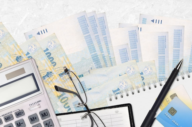 Hungarian forint bills and calculator with glasses and pen