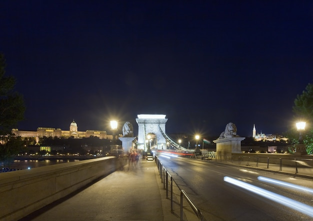 Hungarian landmark, budapest chain bridge night view. long exposure shot and all peoples unrecognized