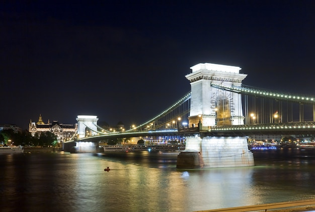 Hungarian landmark, budapest chain bridge night view