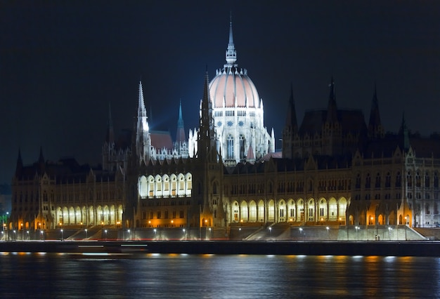 Hungarian landmark, budapest parliament night view. long exposure.
