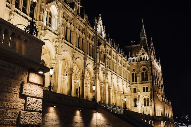 The hungarian parliament in budapest on the danube in the night lights of the street lamps