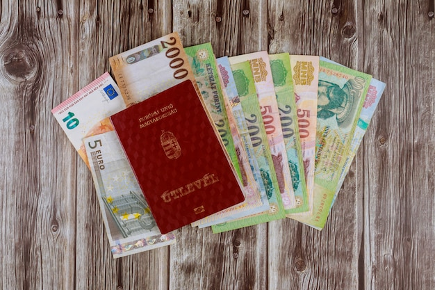 The hungarian passports and euro banknotes on a forint paper money