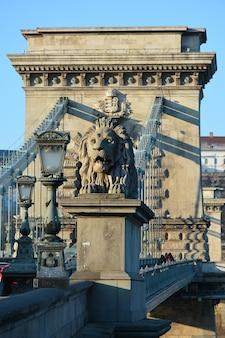 Hungary, budapest, beautiful architecture, chain bridge on the danube river