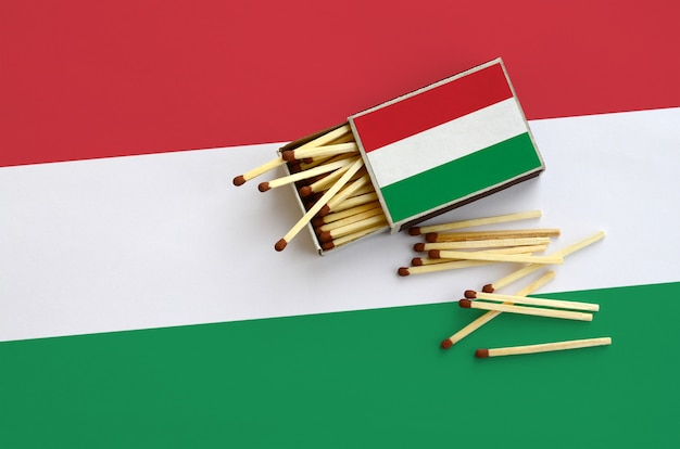 Hungary flag  is shown on an open matchbox, from which several matches fall and lies on a large flag