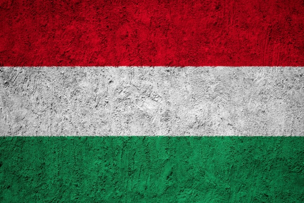 Hungary flag painted on grunge wall