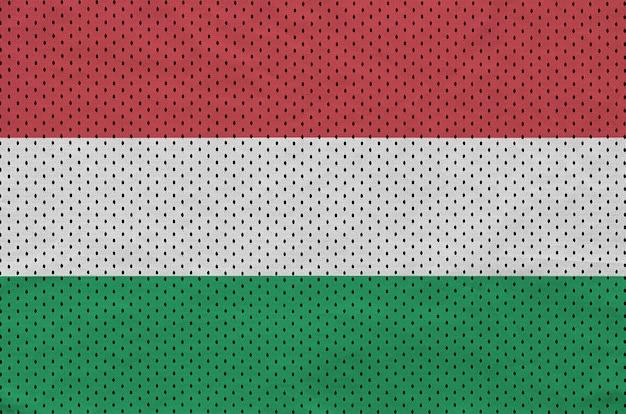 Hungary flag printed on a polyester nylon sportswear mesh fabric