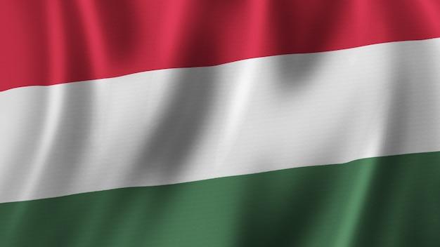 패브릭 질감으로 고품질 이미지로 근접 촬영 3d 렌더링을 흔들며 헝가리 국기