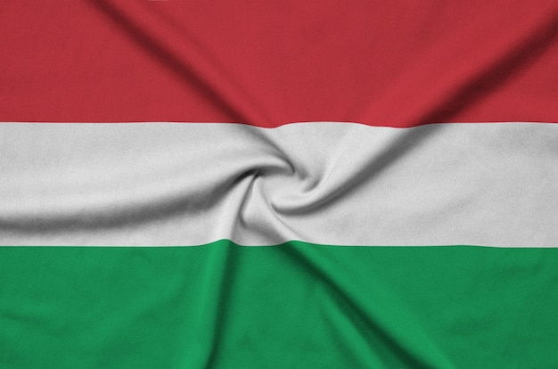 Hungary flag with many folds.