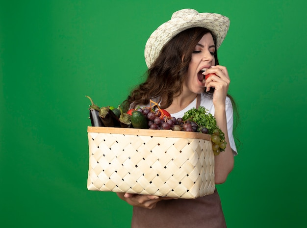Il giovane giardiniere femminile affamato in cappello da giardinaggio d'uso uniforme tiene il cestino della verdura e finge di mordere il pomodoro isolato sulla parete verde