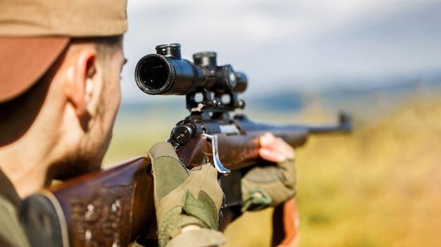 Hunter is aiming.