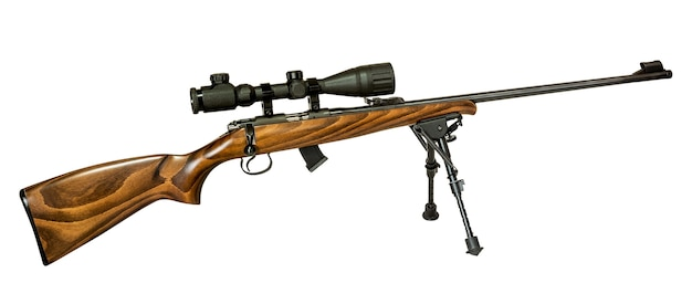 Hunting rifle isolated on white with clipping path